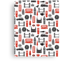 London Block Print - Black and Red by Andrea Lauren Canvas Print