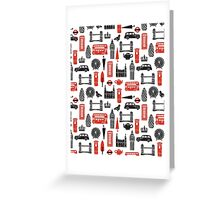 London Block Print - Black and Red by Andrea Lauren Greeting Card