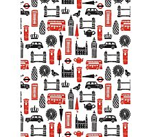 London Block Print - Black and Red by Andrea Lauren Photographic Print