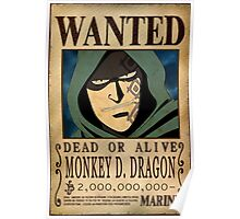 Wanted Monkey D Dragon - One Piece Poster