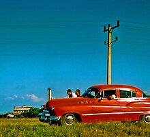 cuba red car scene by opiumfire