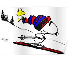 Snoopy on snow Poster