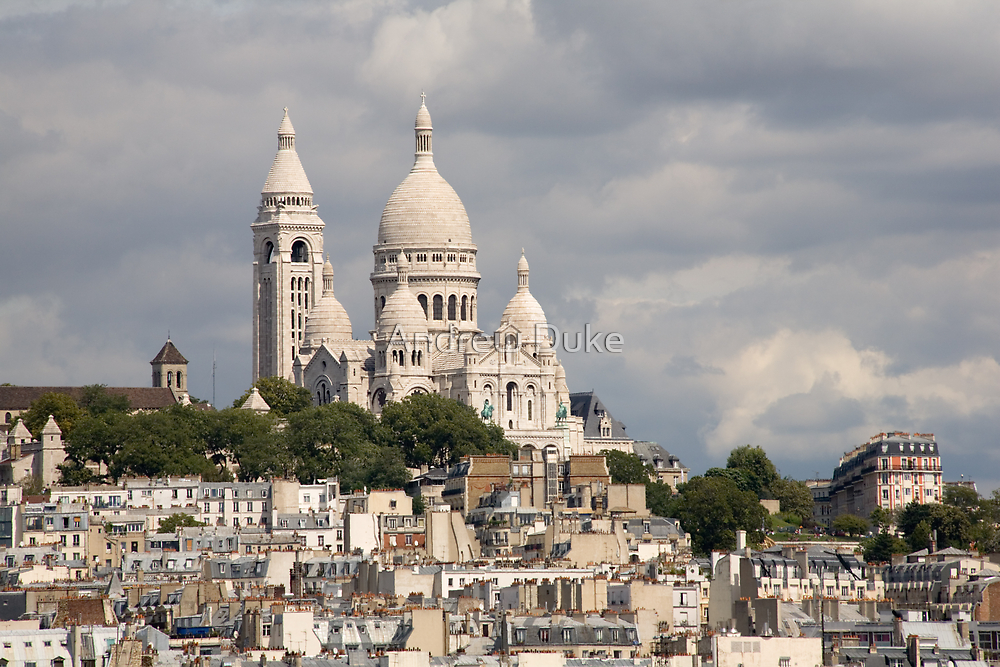 The Sacre Coeur church in Montmartre, Paris, France by Andrew Duke