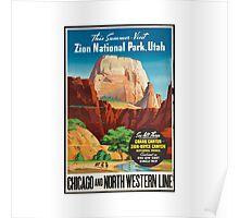 Zion National Park Vintage Art Poster