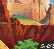 Zion National Park Vintage Art Sticker