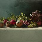 pomegranates with a vase by Demetrios Vlachos