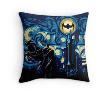 Dark Blue Starry Knight Abstract Throw Pillow