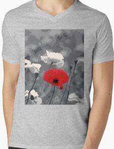 One Red Poppy Mens V-Neck T-Shirt