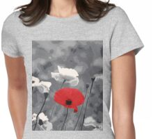 One Red Poppy Womens Fitted T-Shirt