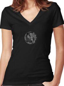 Gray and Black Yin Yang Koi Fish Women's Fitted V-Neck T-Shirt
