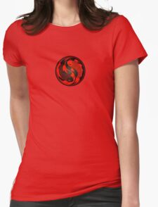 Red and Black Yin Yang Koi Fish Womens Fitted T-Shirt