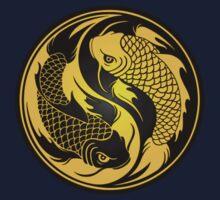 Black and Yellow Yin Yang Koi Fish Kids Tee