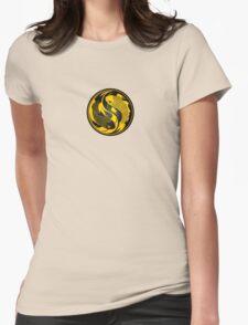 Black and Yellow Yin Yang Koi Fish Womens Fitted T-Shirt