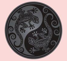 Gray and Black Yin Yang Geckos Kids Tee