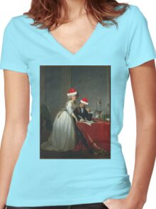 Antoine-Laurent Lavoisier (1743–1794) and His Wife (Marie-Anne-Pierrette Paulze, 1758–1836) Jacques Louis David  Women's Fitted V-Neck T-Shirt