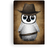 Cute Baby Penguin Wearing Cowboy Hat Canvas Print