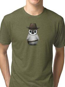 Cute Baby Penguin Wearing Cowboy Hat Tri-blend T-Shirt