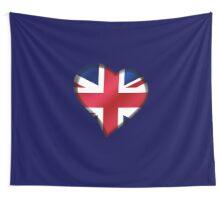 British Union Jack Flag - United Kingdom UK - Heart Wall Tapestry