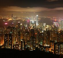 Hong Kong skyline at night by Christophe Testi