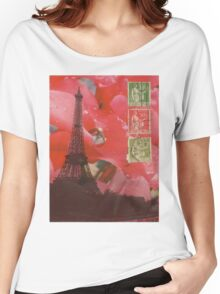 Eiffel Tower and Red Cyclamen Women's Relaxed Fit T-Shirt