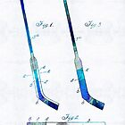 Blue Hockey Stick Art Patent - Sharon Cummings by Sharon Cummings