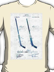 Blue Hockey Stick Art Patent - Sharon Cummings T-Shirt