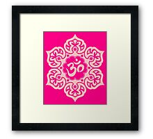 Pink Lotus Flower Yoga Om Framed Print