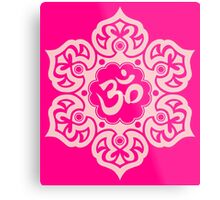 Pink Lotus Flower Yoga Om Metal Print