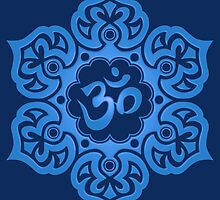 Blue Lotus Flower Yoga Om by Jeff Bartels