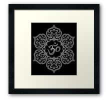 Dark Lotus Flower Yoga Om Framed Print