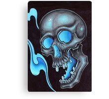 blue skull waves Canvas Print