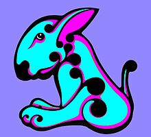 Swirl English Bull Terrier Aqua and Shocking Pink by Sookiesooker