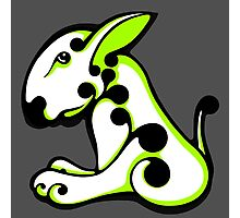 Swirl English Bull Terrier Lime and White  Photographic Print