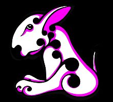Swirl English Bull Terrier White and Shocking Pink / Black by Sookiesooker