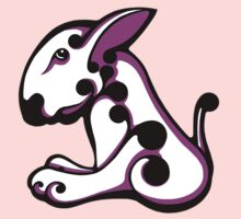 Swirl English Bull Terrier White and Shocking Pink / Black Kids Clothes