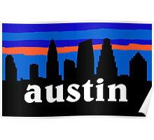 Austin Texas, Skyline silhouette Poster