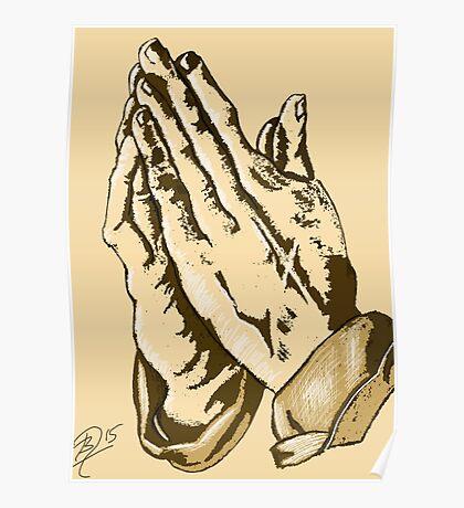 Drawing of praying hands Poster