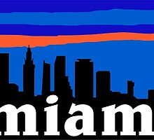 Miami, skyline silhouette by mustbtheweather