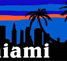 Miami palm trees, skyline silhouette by mustbtheweather