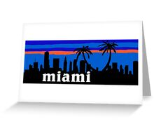 Miami palm trees, skyline silhouette Greeting Card