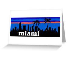 Miami palm trees, skyline silhouette Greeting Card