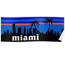Miami palm trees, skyline silhouette Poster
