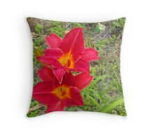 Two Red Daylillies, Hemerocallis Throw Pillow