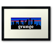 Grunge, Seattle skyline silhouette. Framed Print