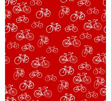 Retro Collection of Bicycles on red Photographic Print