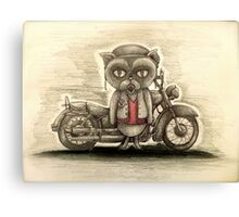 grumpy biker cat Canvas Print