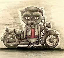 grumpy biker cat by melaniedann