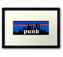 Punk, NYC skyline silhouette Framed Print