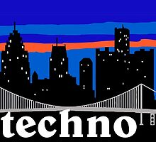 Techno, Detroit skyline silhouette by mustbtheweather