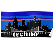 Techno MUSIC, Detroit skyline silhouette Poster